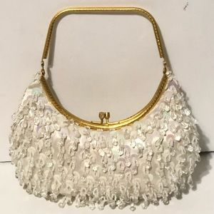 Vintage White Beaded and Sequins Evening Handbag